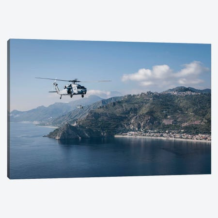 MH-60S Sea Hawk Helicopters Off The Coast Of Naples, Italy Canvas Print #TRK865} by Stocktrek Images Canvas Wall Art