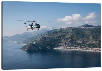 MH-60S Sea Hawk Helicopters Off The Coast Of Naples, Italy Canvas Art Print