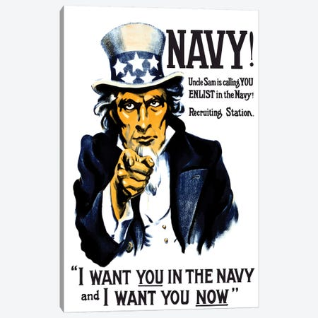 Vintage WWI Poster Of Uncle Sam Pointing At The Reader Canvas Print #TRK86} by John Parrot Canvas Art Print