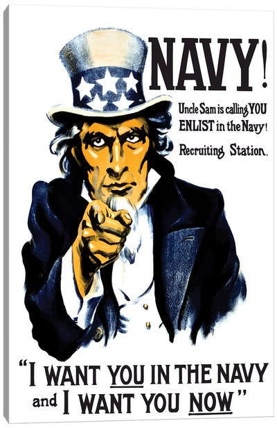 Vintage WWI Poster Of Uncle Sam Pointing At The Reader Canvas Art Print