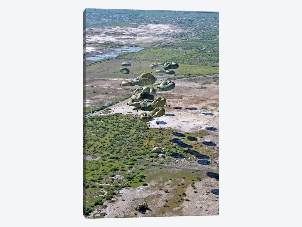 Pallets Of Relief Supplies Exit A C-17 Globemaster III Cargo Aircraft Over Haiti 1-piece Canvas Artwork