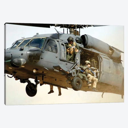 Pararescuemen Aboard A Helicopter Prepare For Landing Canvas Print #TRK872} by Stocktrek Images Canvas Wall Art