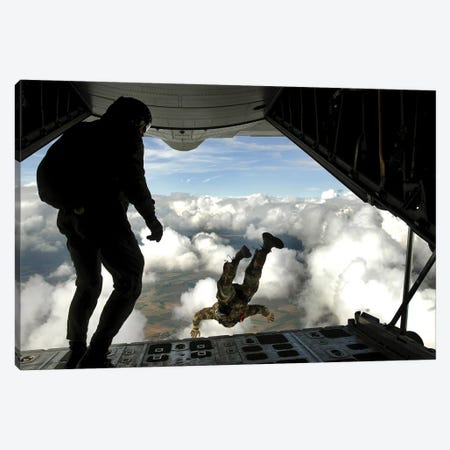 Pararescuemen Jump Out The Back Of A C-130 Hercules Canvas Print #TRK874} by Stocktrek Images Art Print