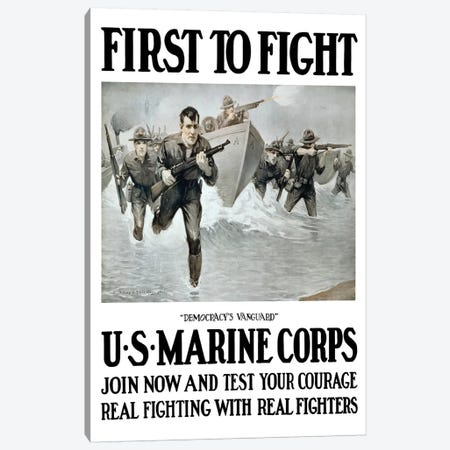 Vintage WWI Poster Of US Marines Storming A Beach, Rifles In Hand Canvas Print #TRK87} by John Parrot Art Print
