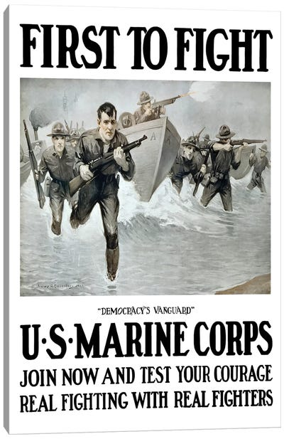 Vintage WWI Poster Of US Marines Storming A Beach, Rifles In Hand Canvas Art Print