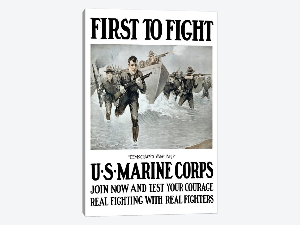 Vintage WWI Poster Of US Marines Storming A Beach, Rifles In Hand by John Parrot 1-piece Canvas Art