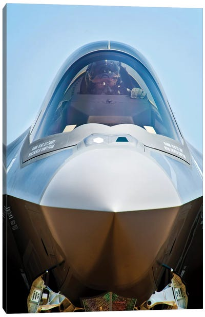 Pilot In The Cockpit Of A US Air Force F-35 Lightning II Canvas Art Print