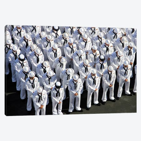 Sailors Bow Their Heads In Prayer At A Memorial Service Canvas Print #TRK885} by Stocktrek Images Canvas Artwork