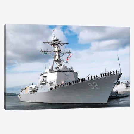Sailors Man The Rails Aboard The Guided-Missile Destroyer USS Momsen Canvas Print #TRK886} by Stocktrek Images Canvas Art