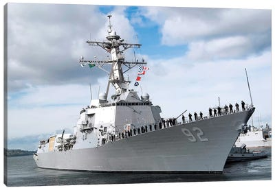 Sailors Man The Rails Aboard The Guided-Missile Destroyer USS Momsen Canvas Art Print