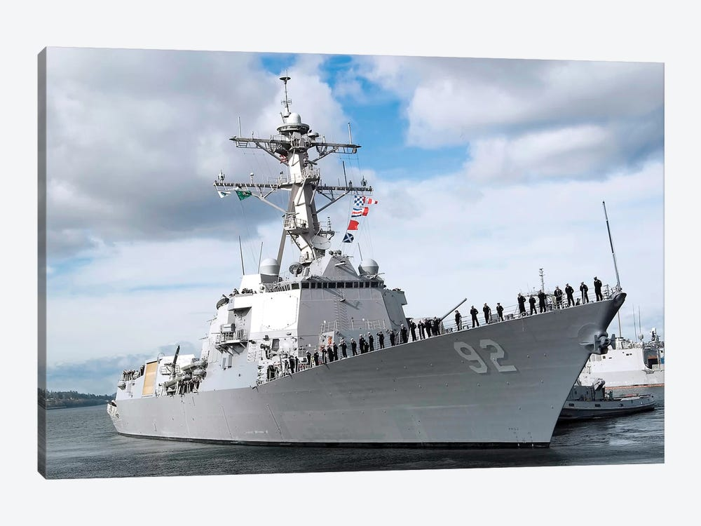 Sailors Man The Rails Aboard The Guided-Missile Destroyer USS Momsen by Stocktrek Images 1-piece Canvas Artwork