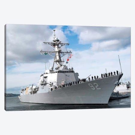 Sailors Man The Rails Aboard The Guided-Missile Destroyer USS Momsen Canvas Print #TRK886} by Stocktrek Images Canvas Art
