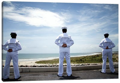Sailors Man The Rails As The Ship Pulls Into Naval Station Norfolk Canvas Art Print