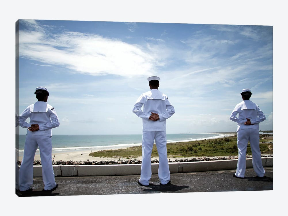 Sailors Man The Rails As The Ship Pulls Into Naval Station Norfolk by Stocktrek Images 1-piece Canvas Art Print