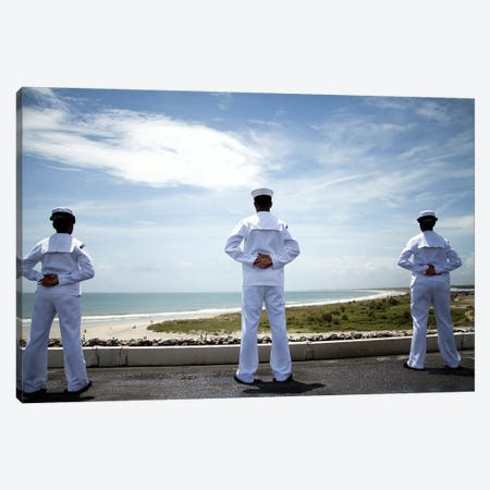 Sailors Man The Rails As The Ship Pulls Into Naval Station Norfolk Canvas Print #TRK887} by Stocktrek Images Canvas Wall Art