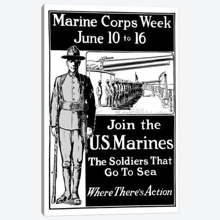 Vintage WWI Poster Showing A Marine Standing At Attention Canvas Print #TRK88} by John Parrot Canvas Art