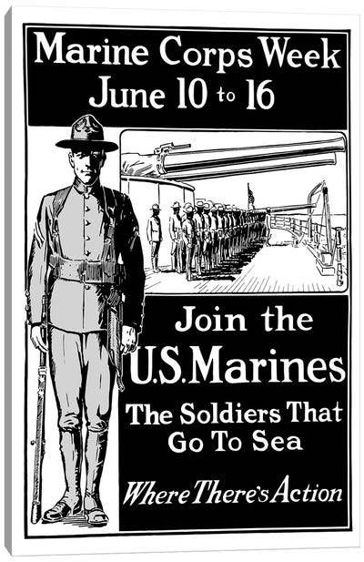 Vintage WWI Poster Showing A Marine Standing At Attention Canvas Art Print