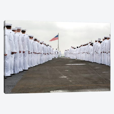 Sailors Prepare To Man The Rails On The Flight Deck Of USS Harry S. Truman Canvas Print #TRK890} by Stocktrek Images Canvas Art
