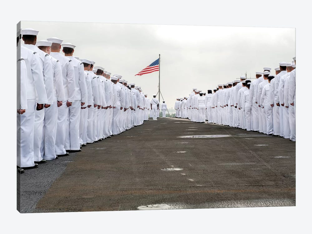 Sailors Prepare To Man The Rails On The Flight Deck Of USS Harry S. Truman by Stocktrek Images 1-piece Canvas Print