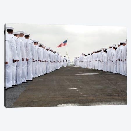 Sailors Prepare To Man The Rails On The Flight Deck Of USS Harry S. Truman Canvas Print #TRK890} by Stocktrek Images Canvas Art