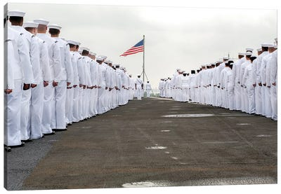Sailors Prepare To Man The Rails On The Flight Deck Of USS Harry S. Truman Canvas Art Print
