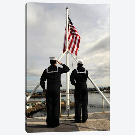 Sailors Raise The National Ensign Aboard USS Abraham Lincoln Canvas Print #TRK891} by Stocktrek Images Canvas Wall Art