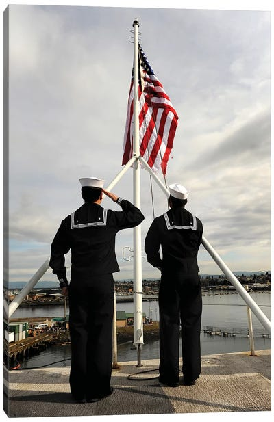 Sailors Raise The National Ensign Aboard USS Abraham Lincoln Canvas Art Print