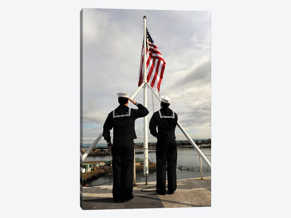 Sailors Raise The National Ensign Aboard USS Abraham Lincoln by Stocktrek Images 1-piece Canvas Wall Art