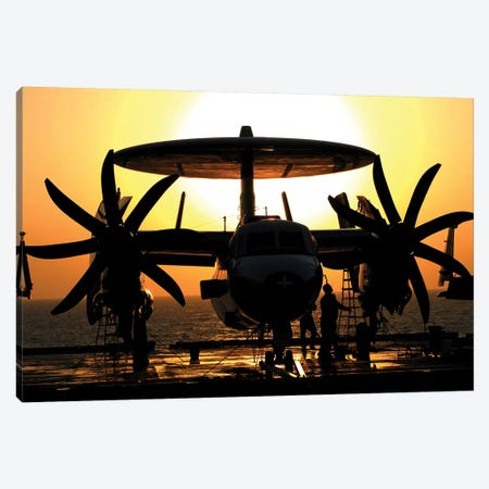 Sailors Work On An E-2C Hawkeye Aircraft Aboard USS Abraham Lincoln Canvas Print #TRK892} by Stocktrek Images Canvas Art