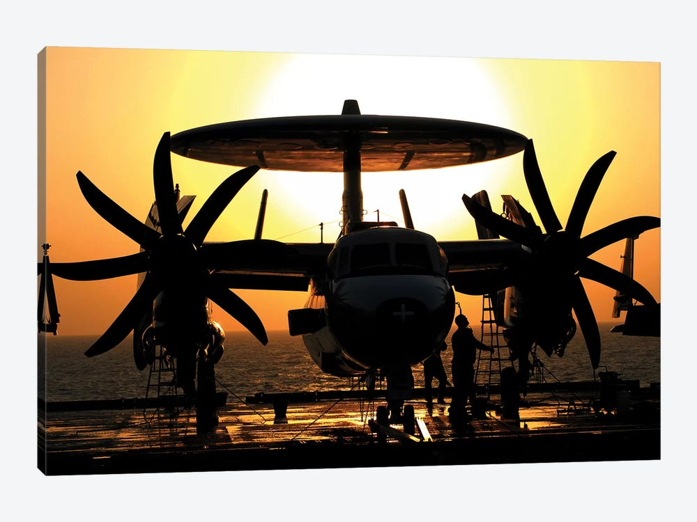 Sailors Work On An E-2C Hawkeye Aircraft Aboard USS Abraham Lincoln by Stocktrek Images 1-piece Art Print