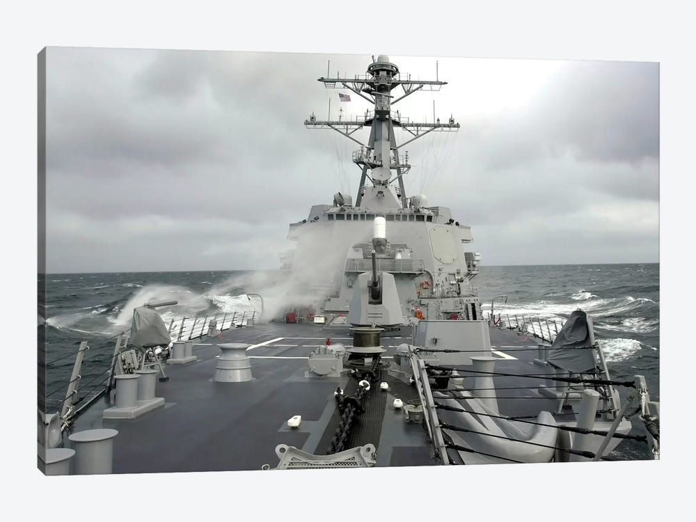 Sea Spray Whips Across The Deck Of The USS Winston S. Churchill by Stocktrek Images 1-piece Canvas Wall Art