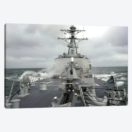 Sea Spray Whips Across The Deck Of The USS Winston S. Churchill Canvas Print #TRK893} by Stocktrek Images Canvas Wall Art