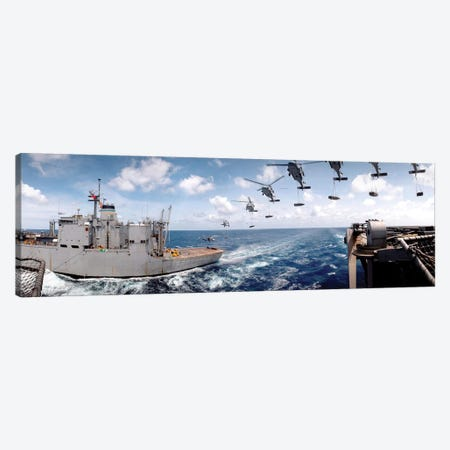 SH-60 Helicopters Transfer Ammunition Between USS Harry S. Truman And USNS Mount Baker Canvas Print #TRK897} by Stocktrek Images Art Print
