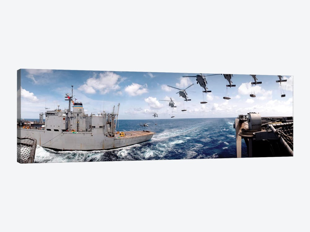 SH-60 Helicopters Transfer Ammunition Between USS Harry S. Truman And USNS Mount Baker by Stocktrek Images 1-piece Canvas Wall Art