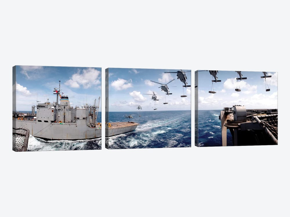 SH-60 Helicopters Transfer Ammunition Between USS Harry S. Truman And USNS Mount Baker by Stocktrek Images 3-piece Canvas Artwork
