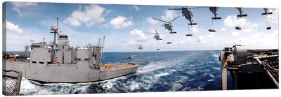 SH-60 Helicopters Transfer Ammunition Between USS Harry S. Truman And USNS Mount Baker Canvas Art Print