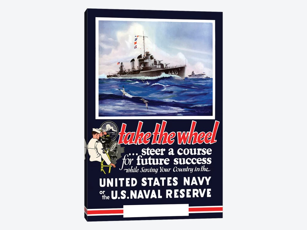 Vintage WWII Navy Poster Of US Warships On The Sea by John Parrot 1-piece Canvas Wall Art