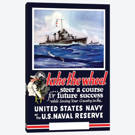 Vintage WWII Navy Poster Of US Warships On The Sea Canvas Print #TRK89} by John Parrot Canvas Wall Art
