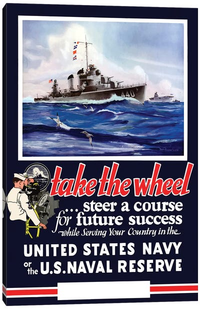 Vintage WWII Navy Poster Of US Warships On The Sea Canvas Art Print