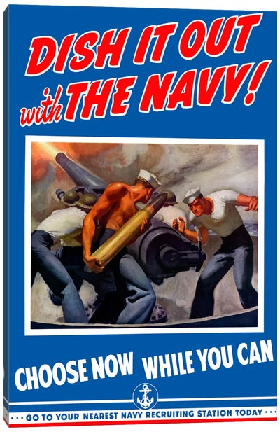 Dish It Out With The Navy Recruitment Poster Canvas Art Print
