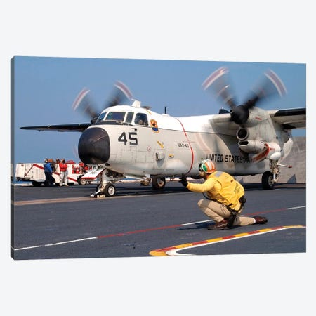 Signalman Gives The Launch Signal To A C-2A Greyhound Canvas Print #TRK902} by Stocktrek Images Canvas Wall Art