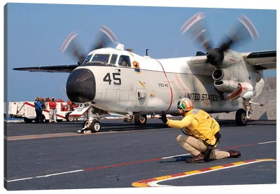 Signalman Gives The Launch Signal To A C-2A Greyhound Canvas Art Print