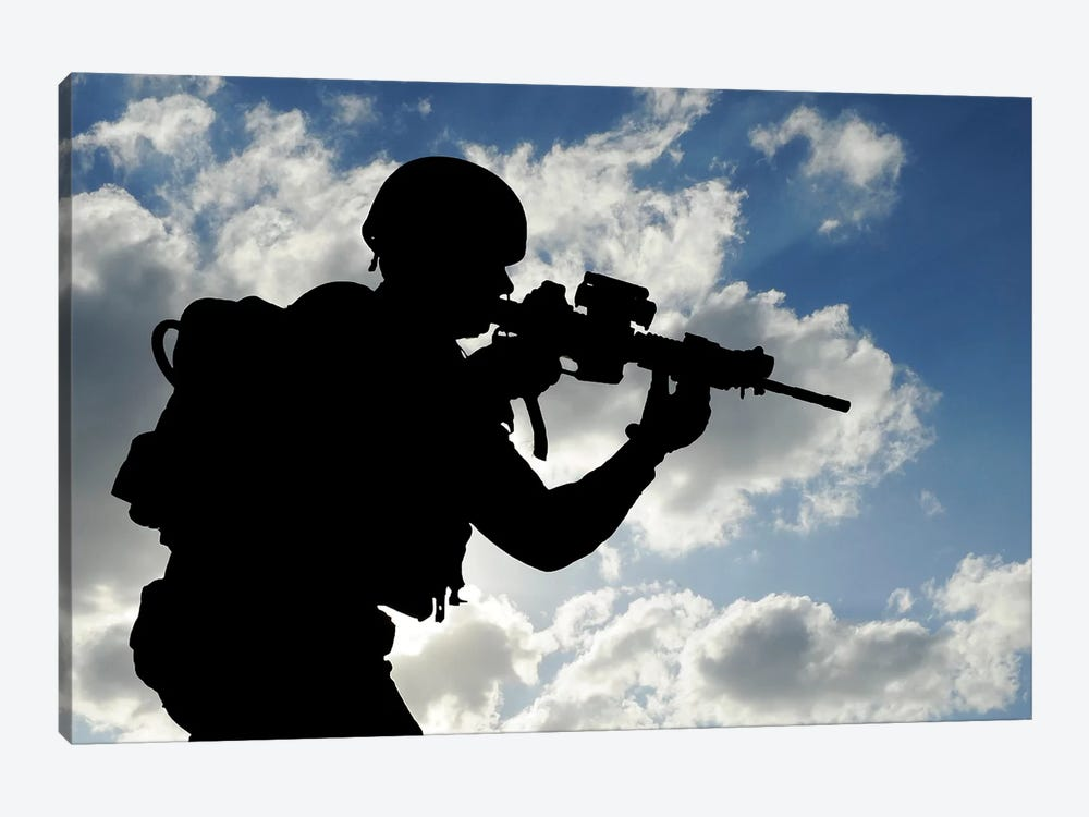 Silhouette Of A Soldier Against A Cloudy Sky by Stocktrek Images 1-piece Canvas Artwork