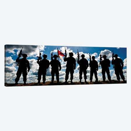 Silhouette Of Soldiers From The US Army National Guard Canvas Print #TRK905} by Stocktrek Images Canvas Art Print