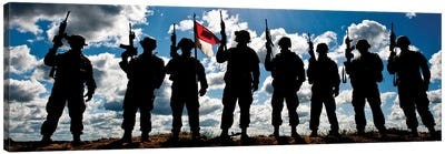 Silhouette Of Soldiers From The US Army National Guard Canvas Art Print