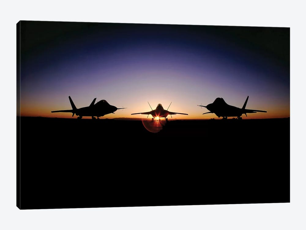 Silhouette Of The F-22 Raptor by Stocktrek Images 1-piece Art Print