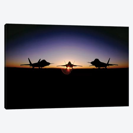 Silhouette Of The F-22 Raptor Canvas Print #TRK906} by Stocktrek Images Canvas Art Print