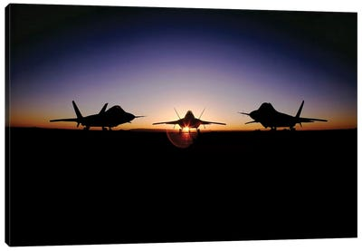 Silhouette Of The F-22 Raptor Canvas Art Print