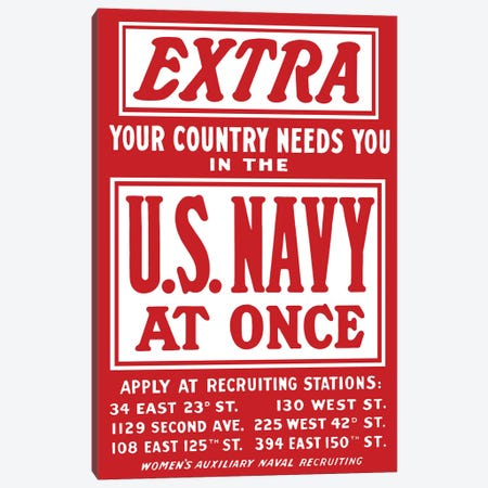 Vintage WWII Navy Recruitment Poster Canvas Print #TRK90} by John Parrot Canvas Print
