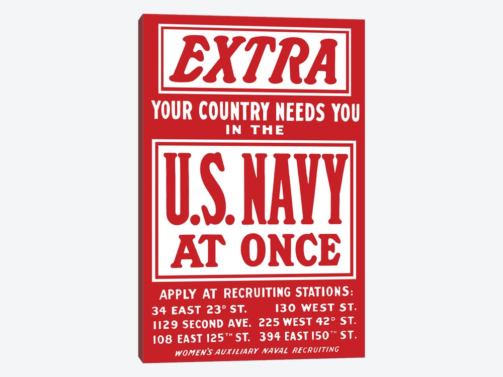 Vintage WWII Navy Recruitment Poster by John Parrot 1-piece Canvas Artwork